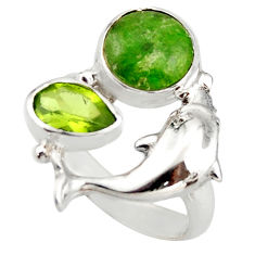 5.18cts natural green chrome diopside 925 silver dolphin ring size 7.5 d46035