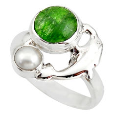4.92cts natural green chrome diopside 925 silver dolphin ring size 7 d46009