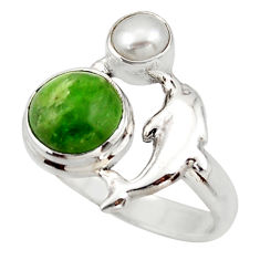 4.52cts natural green chrome diopside 925 silver dolphin ring size 7 d46048