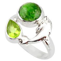 4.42cts natural green chrome diopside 925 silver dolphin ring size 8 d46008