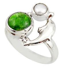 4.40cts natural green chrome diopside 925 silver dolphin ring size 8 d46025