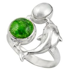 5.18cts natural green chrome diopside 925 silver dolphin ring size 8 d46061