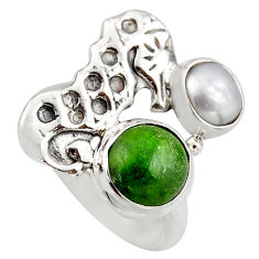4.22cts natural green chrome diopside 925 silver seahorse ring size 7 d46036