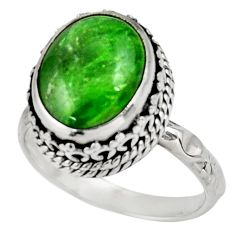 Clearance Sale- 4.82cts natural green chrome diopside 925 silver solitaire ring size 7.5 d39055