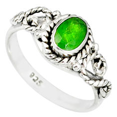 1.58cts natural green chrome diopside 925 silver solitaire ring size 8.5 r82274