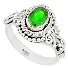 1.47cts natural green chrome diopside 925 silver solitaire ring size 5.5 r82278