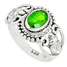 1.46cts natural green chrome diopside 925 silver solitaire ring size 5 r82362