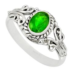 1.47cts natural green chrome diopside 925 silver solitaire ring size 5 r82423