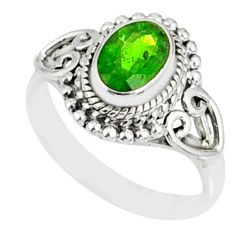1.52cts natural green chrome diopside 925 silver solitaire ring size 5 r82430