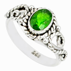 1.53cts natural green chrome diopside 925 silver solitaire ring size 6 r82261
