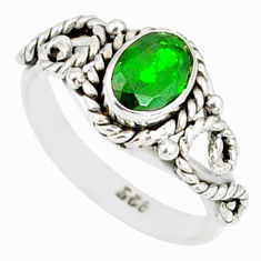 1.52cts natural green chrome diopside 925 silver solitaire ring size 6 r82270