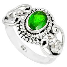 1.49cts natural green chrome diopside 925 silver solitaire ring size 6 r82273