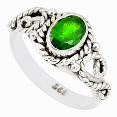 1.52cts natural green chrome diopside 925 silver solitaire ring size 6 r82277