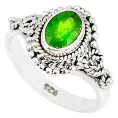 1.46cts natural green chrome diopside 925 silver solitaire ring size 6 r82279