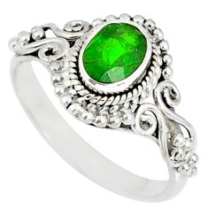 1.51cts natural green chrome diopside 925 silver solitaire ring size 6 r82372