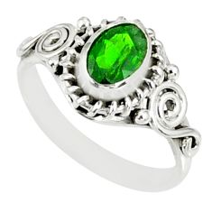 1.43cts natural green chrome diopside 925 silver solitaire ring size 6 r82433
