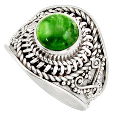 3.41cts natural green chrome diopside 925 silver solitaire ring size 7 d46227