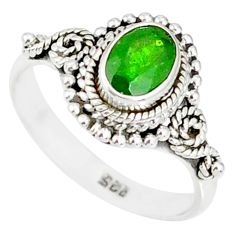 1.43cts natural green chrome diopside 925 silver solitaire ring size 7 r82267