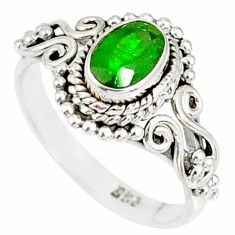1.44cts natural green chrome diopside 925 silver solitaire ring size 7 r82275