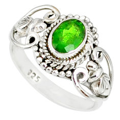 1.49cts natural green chrome diopside 925 silver solitaire ring size 7 r82365