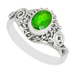 1.43cts natural green chrome diopside 925 silver solitaire ring size 7 r82427