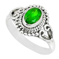 1.59cts natural green chrome diopside 925 silver solitaire ring size 7 r82434