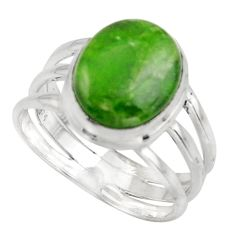 5.28cts natural green chrome diopside 925 silver solitaire ring size 8 d47491