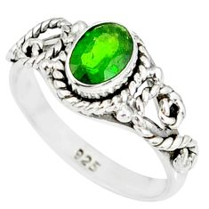 1.48cts natural green chrome diopside 925 silver solitaire ring size 8 r82271