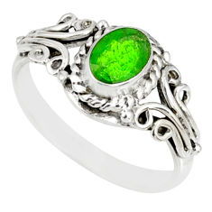 1.55cts natural green chrome diopside 925 silver solitaire ring size 8 r82428