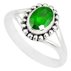 1.54cts natural green chrome diopside 925 silver solitaire ring size 9 r82181