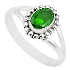 1.58cts natural green chrome diopside 925 silver solitaire ring size 9 r82190