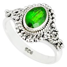 1.43cts natural green chrome diopside 925 silver solitaire ring size 9 r82266