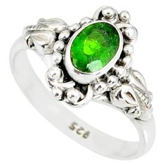 1.43cts natural green chrome diopside 925 silver solitaire ring size 9 r82371