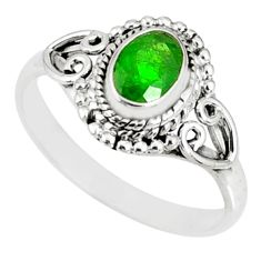 1.55cts natural green chrome diopside 925 silver solitaire ring size 9 r82426