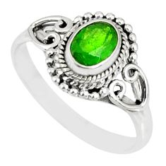 1.58cts natural green chrome diopside 925 silver solitaire ring size 9 r82431
