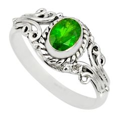 1.46cts natural green chrome diopside 925 silver solitaire ring size 9 r82437