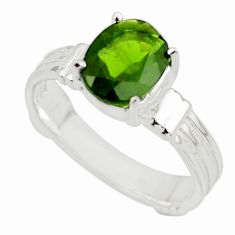 3.37cts natural green chrome diopside 925 sterling silver ring size 7.5 r43417