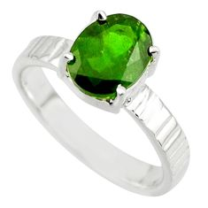 3.37cts natural green chrome diopside 925 sterling silver ring size 7.5 r43436