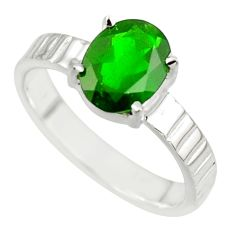 3.22cts natural green chrome diopside 925 sterling silver ring size 7.5 r43437