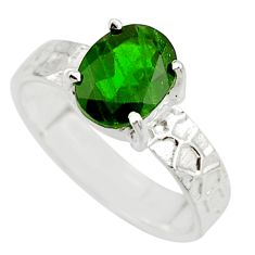 3.29cts natural green chrome diopside 925 sterling silver ring size 7.5 r43447