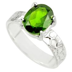 3.44cts natural green chrome diopside 925 sterling silver ring size 6 r43412