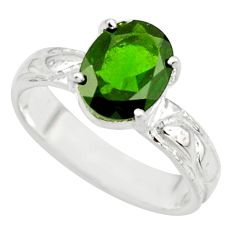 3.39cts natural green chrome diopside 925 sterling silver ring size 6 r43420