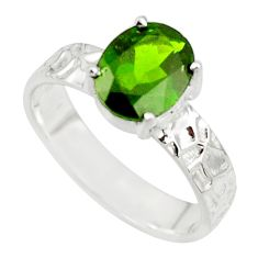 3.29cts natural green chrome diopside 925 sterling silver ring size 7 r43404