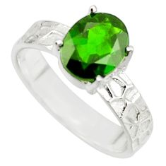 3.35cts natural green chrome diopside 925 sterling silver ring size 7 r43405