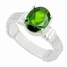 3.02cts natural green chrome diopside 925 sterling silver ring size 7 r43408