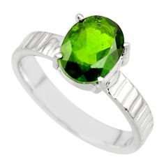 3.36cts natural green chrome diopside 925 sterling silver ring size 7 r43411