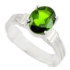 3.18cts natural green chrome diopside 925 sterling silver ring size 7 r43445