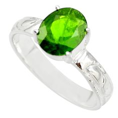 3.39cts natural green chrome diopside 925 sterling silver ring size 8 r43402