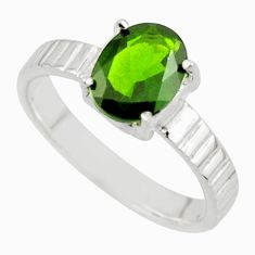 3.43cts natural green chrome diopside 925 sterling silver ring size 8 r43414