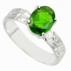 3.28cts natural green chrome diopside 925 sterling silver ring size 8 r43418